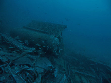 Debris just outside the engine room Amidships, Marc Corbett photo, Oct, 2013.