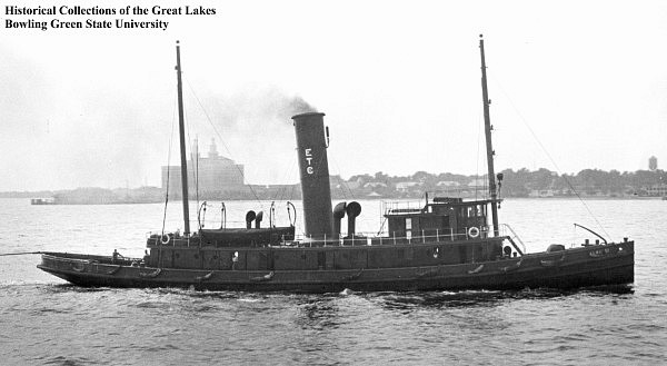 Tug Kiron built Oct, 1919, is a sistership of the Keshena.  Photo from Bowling Green State UIniversity, Center for Archival Collecitions