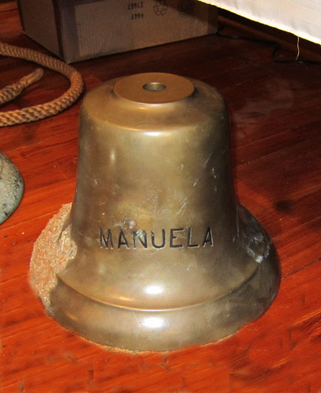 The Ship's Bell from the Manuela, recovered by Diver Gary Gentile.  Photo courtesy U. Lovas
