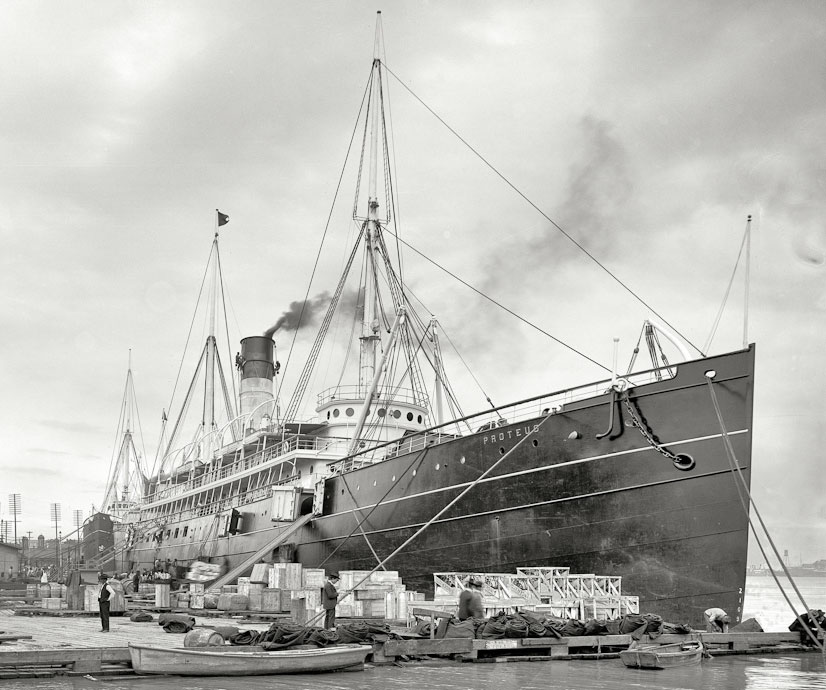 SS Proteus at NOLA wharf unloading. From Frank B. Moore collection, Uni New Orleans, Earl K. Long Library