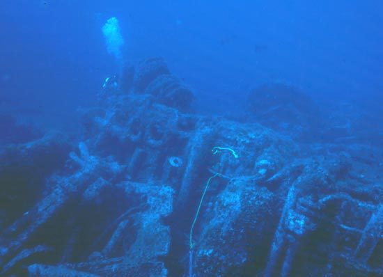 Engine of the Proteus lays on its port side.  Photo by Capt Dave Sommmers, Dive Hatteras