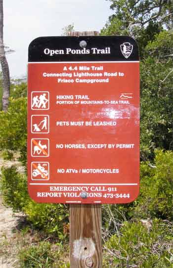 Open Ponds Trail sign is on Lighthouse Road